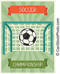 plat, affiche, championship., conception, retro, football, style.