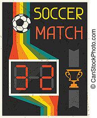 plat, affiche, conception, retro, match., football, style.