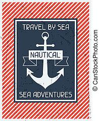plat, affiche, conception, retro, nautical., style.