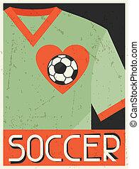 plat, affiche, conception, retro, style., soccer.