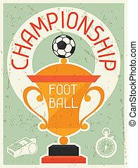 plat, affiche, football, championship., conception, retro, style.