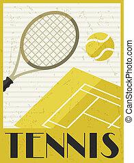 plat, affiche, tennis., conception, retro, style.