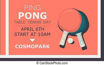 plat, affiche, tennis, ping, deux, raquettes, équipement, vecteur, day.ping, illustration, table, pong, sport, bannière, ball.