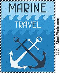 plat, affiche, travel., conception, retro, nautique, marin, style.