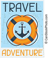plat, affiche, voyage, adventure., conception, retro, nautique, style.