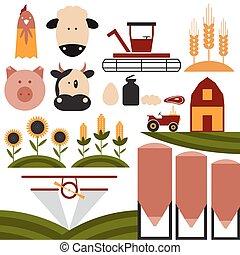plat, agriculture, conception, dessin animé, icônes