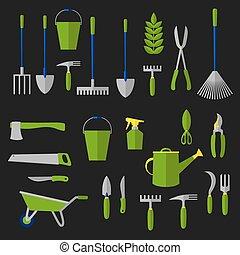 plat, agriculture, outils jardinage, icônes
