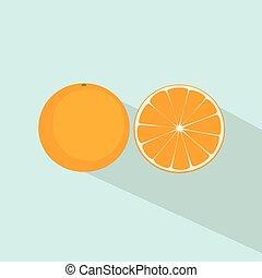 plat, agrumes, vecteur, conception, orange, icône