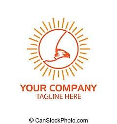 plat, aigle, soleil blanc, design., logo, fond, vecteur, illustration