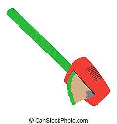 plat, aiguisoir, illustration, isolé, vecteur, vert, pencil., rouges, stockage