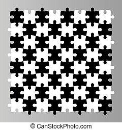 plat, aimer, simple, puzzle, puzzle, seamless, illustration, morceaux, arrière-plan., desk., vecteur, noir, regarde, blanc, mosaïque, échecs