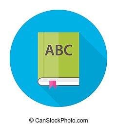 plat, alfabet, boek, engelse , cirkel, pictogram