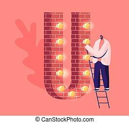plat, alfabet, lamps., vrolijk, danken, u, reusachtig, stander, rood, gloeiend, illustratie, verlichting, ladder, woord, spotprent, bakstenen, guirlande, vector, spelling, verfraaide, u, gemaakt, karakter, man, volwassene, brief