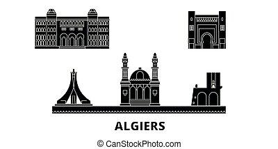 plat, alger, illustration, voyage, landmarks., symbole, horizon, vecteur, noir, vues, ville, set.