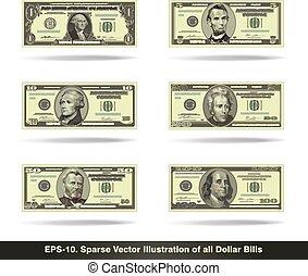 plat, alles, rekeningen, dollar