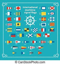 plat, alphabet., illustration., signaal, maritiem, vector, zee, internationaal, flags.