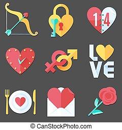 plat, amour, icônes