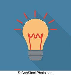 plat, ampoule, style, icône, lumière