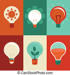 plat, ampoules, lumière, concepts, -, idée, innovation