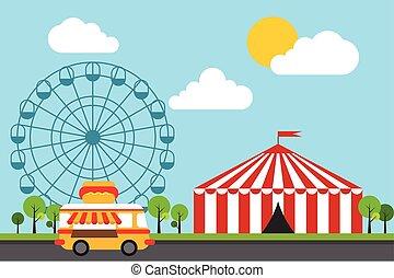 plat, amusement, parc, illustration, thème, vecteur, conception