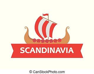 plat, ancien, emblème, vikings, nordique, -, scandinave, sous-titre, logo, warriors., bateau, guerre, bateau, drakkar