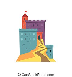 plat, ancien, fortress., coloré, architecture., app, ou, dessin animé, mobile, drapeau, vecteur, conception, tower., historique, repère, château, icône, héraldique, rouges, bâtiment.