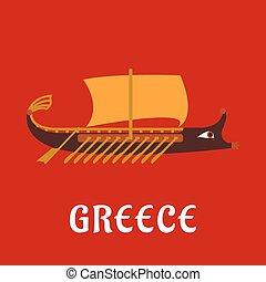 plat, ancien, galère, grec, bateau, guerre