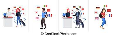 plat, anders, concept, translator, toerist, woordenboek, mensen, mobiel communicatiemiddel, mannen, verbinding, of, talen, lengte, smartphone, volle, gebruik, vlaggen, set, horizontaal, vrouwen