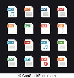 plat, anders, grafisch, communie, iconen, Set, Papier,...