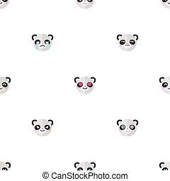 plat, anders, hoofden, pattern., seamless, emoties, emoticons, achtergrond., vector, dier, spotprent, panda