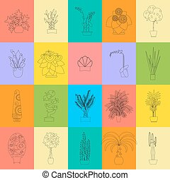 plat, anders, huisvesting, illustratie, vector, broeikas, planten, types