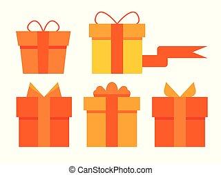 plat, anders, set, cadeau, boxes., vector, design.