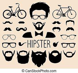 plat, anders, set, creator., groot, gezichten boven, enz., coupes, vector, hipster, mannen, constructor, mannelijke , jurkje, style., pictogram