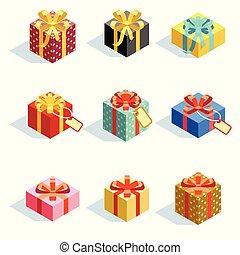plat, anders, set, gekleurde, isolated., illustratie, vector, giftboxes, linten, 3d