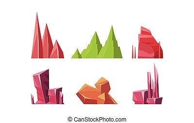 plat, anders, set, natuurlijke , mineraal, kleurrijke, vast...