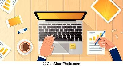 plat, angle, bureau fonctionnant, ordinateur portable, mains, affaires illustration, vecteur, lieu travail, au-dessus, bureau, homme affaires, homme, vue dessus