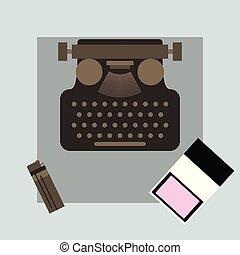 plat, angle, sommet, illustration, cigarettes, vecteur, briquet, machine écrire, meute, vue