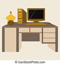 plat, angle, sommet, illustration, lampe, vecteur, lieu travail, bureau, informatique, vue
