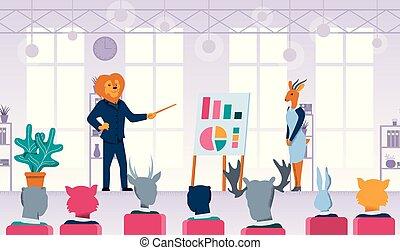 plat, animaux, lion, vecteur, enseignement, homme affaires