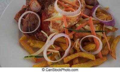 plat, anneaux, rôti, oignon, carottes, -, plaque, courgette,...