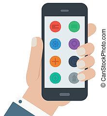plat, app, isolé, main, téléphone, fond, prise