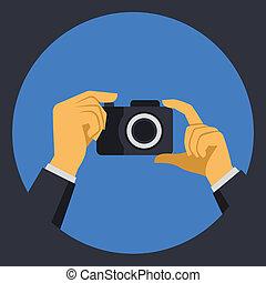 plat, appareil-photo photo, numérique, vecteur, retro, mains, style.
