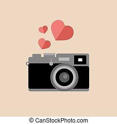 plat, appareil photo, vecteur, vendange, branché, cœurs, style., icône