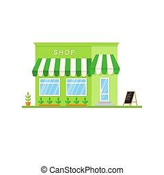 plat, application, white., icône, illustration., magasin, vecteur, interface, utile, conception, marché, infographics., toile, paysage, aussi, magasin, ou, café