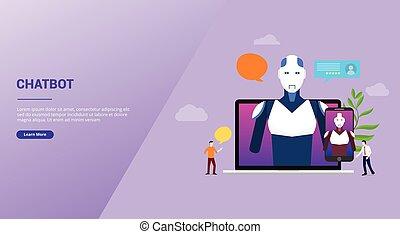 plat, apps, atterrissage, ou, robot, conversation, ordinateur portable, vecteur, style, technologie, artificiel, site web, bavarder, intelligence, -, moderne, gabarit, page accueil, chatbot