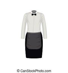 plat, apron., hemd, restaurant, boog-band, vector, black , uniform., worker., ontwerp, witte , rok, waitress, kleren