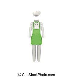 plat, apron., jas, garment., broek, kok, s, vector, groene hoed, vrouwen, worker., cook, ontwerp, kleren, uniform., keuken