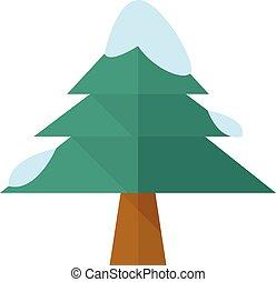 plat, -, arbre noël, icône