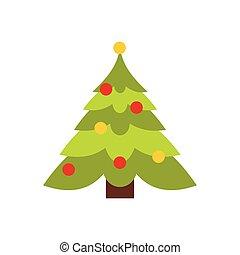 plat, arbre, noël, icône