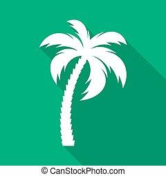 plat, arbre, vecteur, paume, blanc, icône